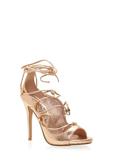 Lace Up Peep Toe Stiletto Heels,ROSE GOLD,large