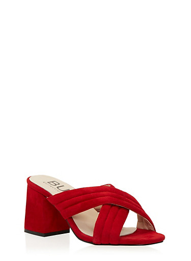 Block Heel Sandals with Criss Cross Straps,RED F/S,large