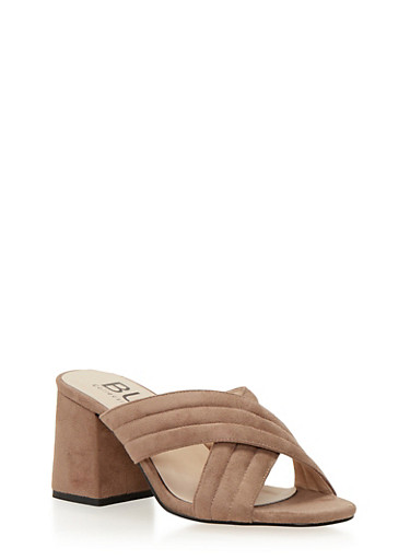 Block Heel Sandals with Criss Cross Straps,TAUPE F/S,large