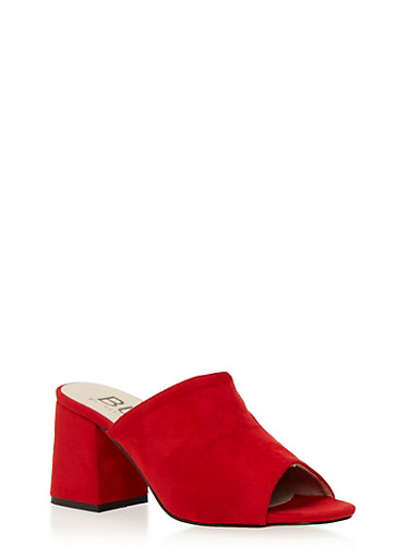 Block Heel Mules with Peep Toe,RED F/S,large