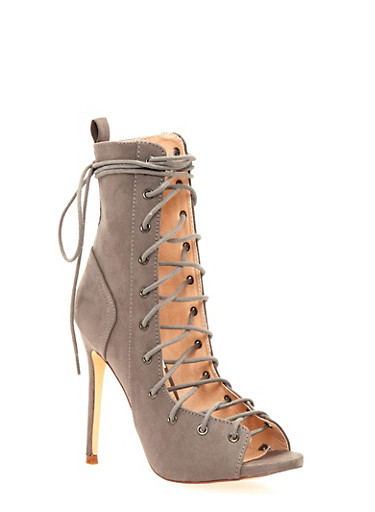 Lace Up High Heel Sandals with Peep Toe,GRAY,large