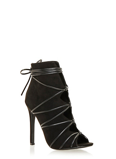 Lace Up Ankle Boots with Peep Toe and Cutout Design,BLACK F/S,large