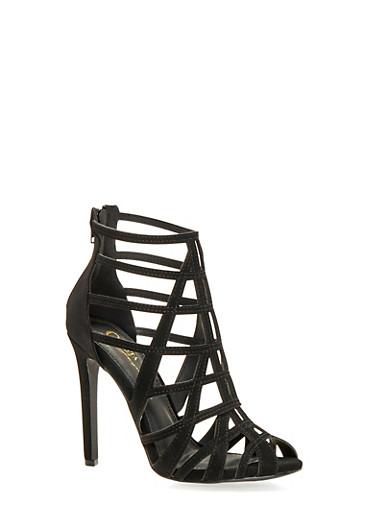 Caged High Heel Sandals,BLACK NB,large