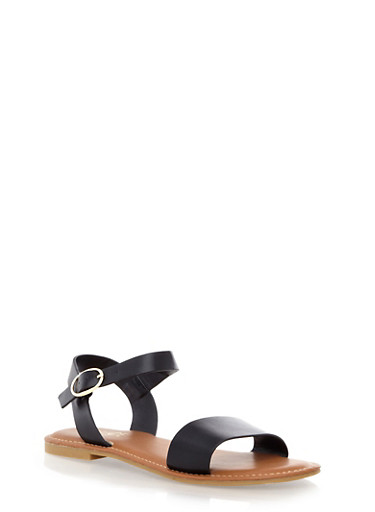 Open Toe Ankle-Strap Flat Sandals,BLACK,large