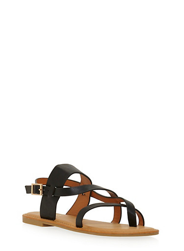 Slingback Sandals with Asymmetrical Straps,BLACK,large