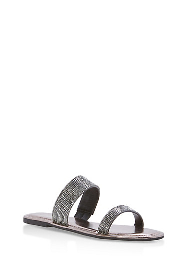Double Band Rhinestone Slide Sandals,BLACK KPU,large