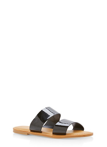 Patent Leather Double Band Slide Sandals,BLACK PATENT,large