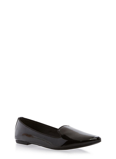 Pointed Toe Flats,BLACK PATENT,large