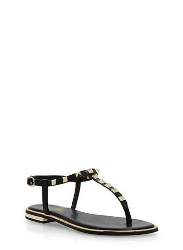 Studded Thong Sandals,BLACK PU,large