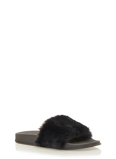 Faux Fur Slides,BLACK/BLACK,large