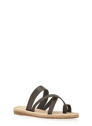 Flat Sandals with Criss Cross Straps,BLACK,large