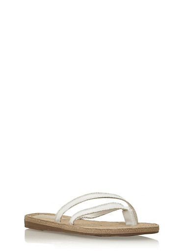 Beaded Cross Strap Thong Sandals,WHITE,large