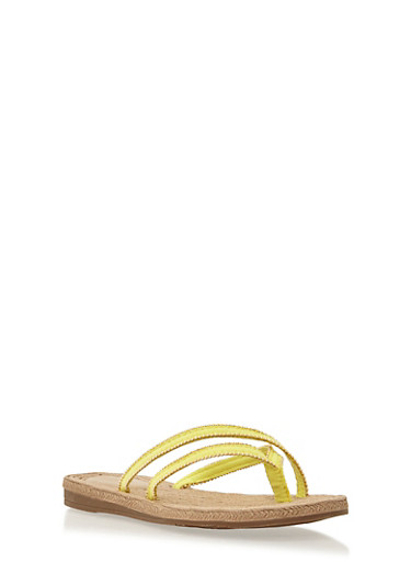 Beaded Cross Strap Thong Sandals,YELLOW,large