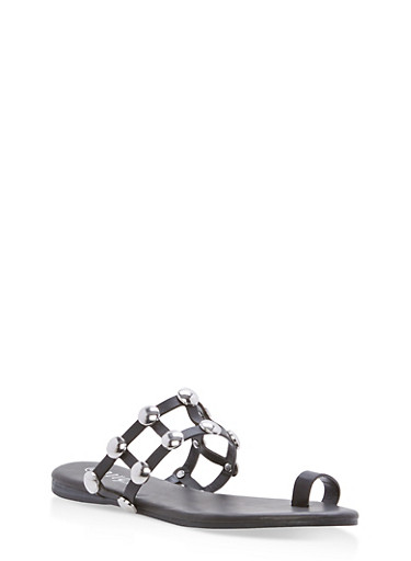 Studded Caged Toe Ring Slide Sandals,BLACK CRP,large