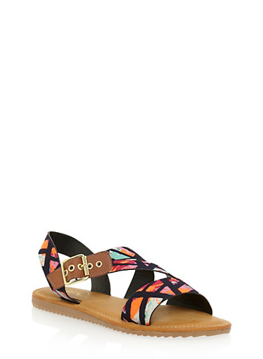 Flat Sandals with Asymmetrical Buckle Strap,BLACK MULTI,large