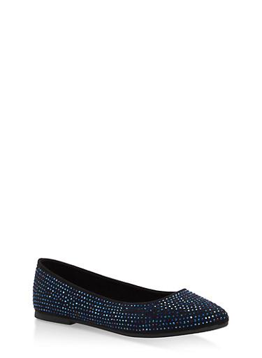 Rhinestone Studded Pointed Toe Flats,BLACK/BLUE,large