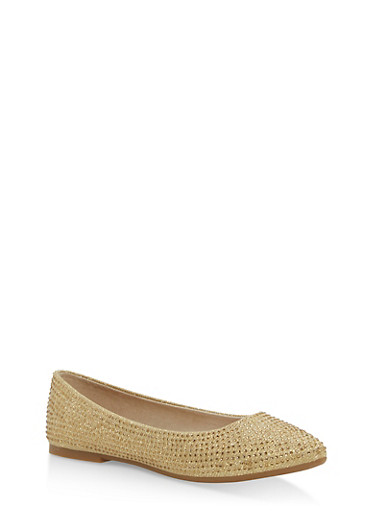 Rhinestone Studded Pointed Toe Flats,GOLD FABRIC,large