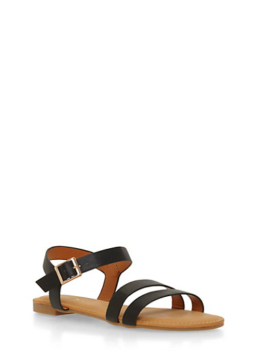 Flat Sandals with Double Toe Straps,BLACK,large