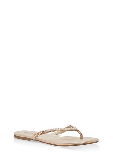 Rhinestone Thong Sandals,GOLD FABRIC,large