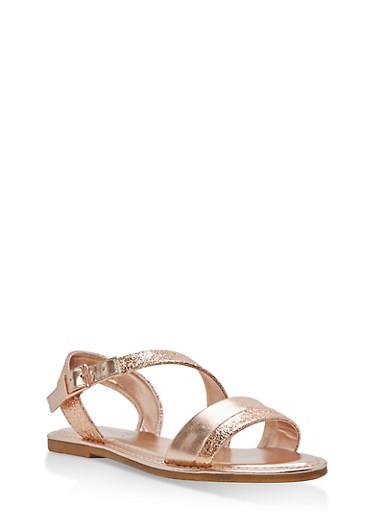 Asymmetrical Shimmer Strap Sandals,ROSE GOLD CMF,large