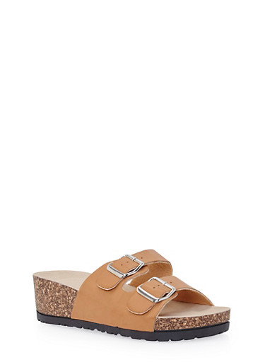 Wedge Sandals with Buckle Cinches,TAN,large