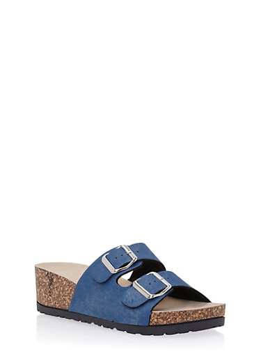 Wedge Sandals with Buckle Cinches,DENIM,large