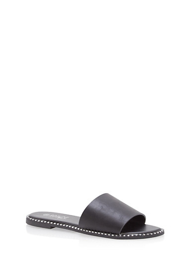 Studded Sole Faux Leather Slides,BLACK BNH,large