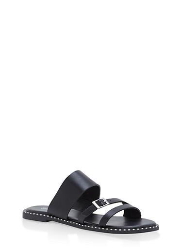 3 Strap Studded Sole Slide Sandals,BLACK,large