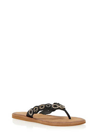 Beaded Thong Slide Sandals,BLACK BURNISH,large