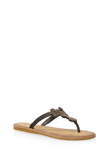 Thong Sandals with Beaded Floral T Strap,BLACK BURNISH,large