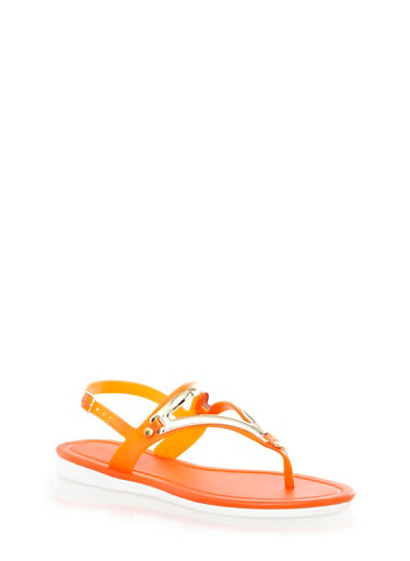 Metallic Trim Jelly Slingback Thong Sandals With Mini Wedge Heel,ORANGE,large