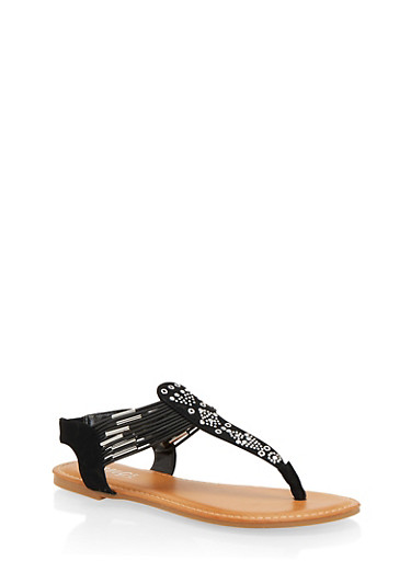 Studded Thong Sandals,BLACK,large