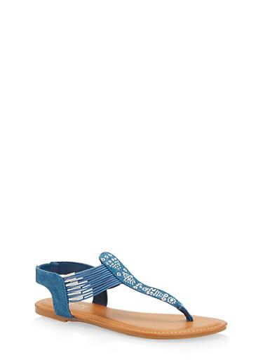 Studded Thong Sandals,BLUE DENIM,large