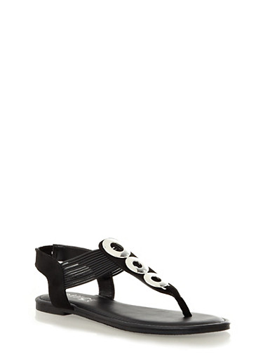 Cable T-Strap Sandals with Metallic Ring Accents,BLACK,large
