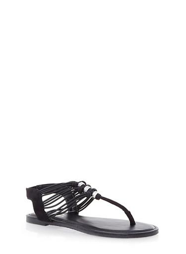 Strappy T-Strap Slingback Sandals with Rhinestone Trim,BLACK,large