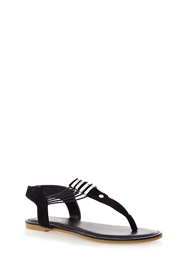Thong T-Strap Flat Sandals,BLACK,large