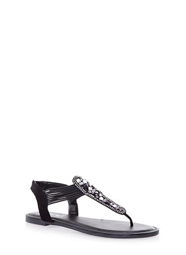 Corded Faux Jewel T-Strap Sandals,BLACK,large