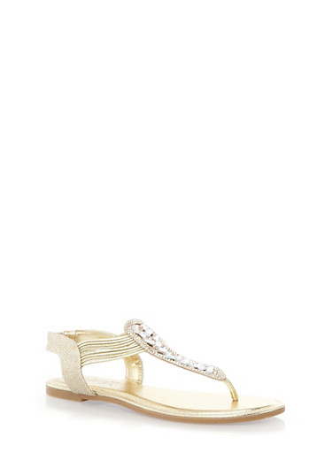 Corded Faux Jewel T-Strap Sandals,GOLD GLITTER,large