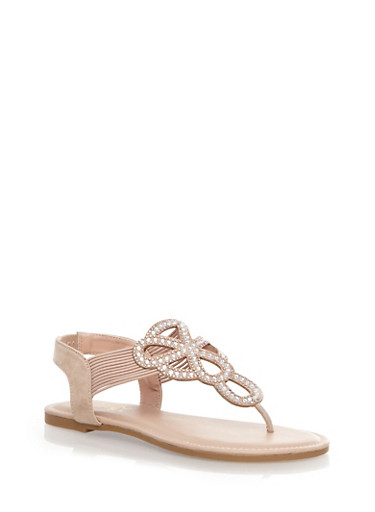 Sparkly Decorative Thong Sandals with Corded Design,NUDE,large