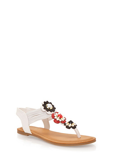 Flower Thong Sandals,WHITE,large