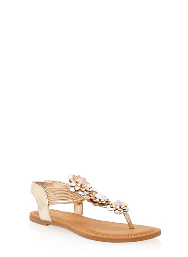 Flower Thong Sandals,GOLD,large