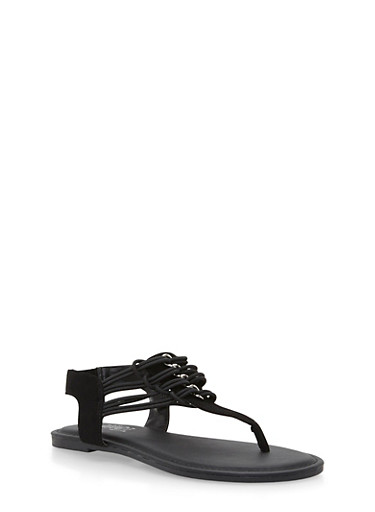 Sandal with Chain Link Embellishments,BLACK NB,large