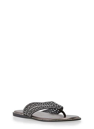 Laser Cut Rhinestone Studded Thong Sandals,BLACK GLITTER,large