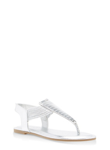 Elastic Multi Strap Thong Sandals with Metallic Detail,SILVER PATENT,large