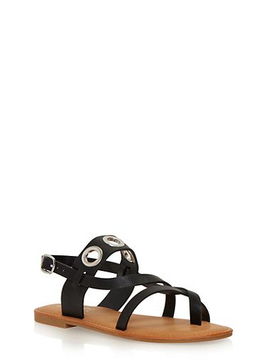Faux Suede Sandals with Grommet Accents,BLACK,large
