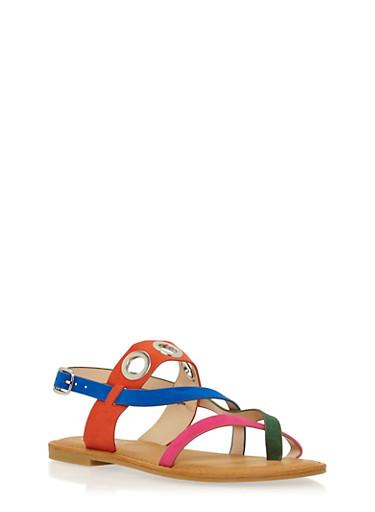Faux Suede Sandals with Grommet Accents,ORANGE MULTI,large