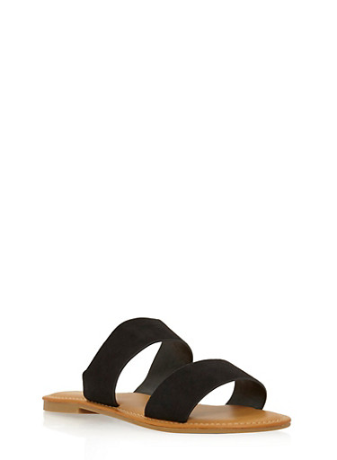 Double Strap Slide Sandals,BLACK F/S,large