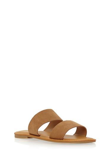 Double Strap Slide Sandals,TAN  F/S,large