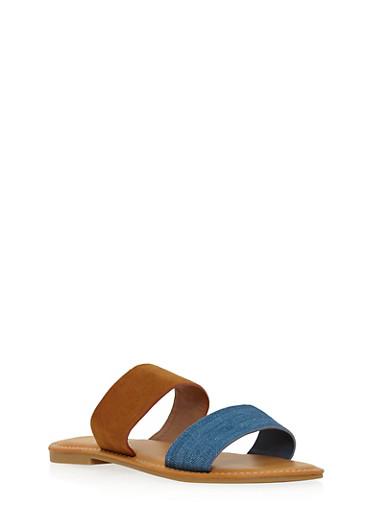 Double Strap Slide Sandals,BLUE DENIM /COGNAC,large