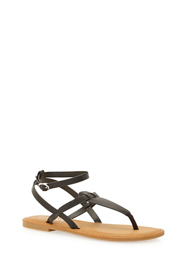 T Strap Sandal with Buckle,BLACK,large